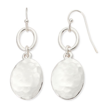jcpenney.com | Liz Claiborne® Silver-Tone Hammered Double Drop Earrings