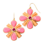 Liz Claiborne® Pink Gold-Tone Drop Earrings