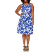Robbie Bee® Sleeveless Printed Dress - Plus