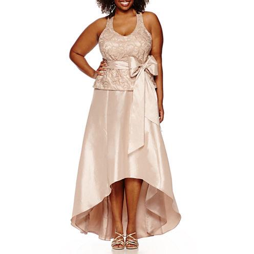 Blu Sage Sleeveless Lace Bodice Gown-Plus