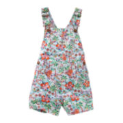 OshKosh B'Gosh® Tropical Print Cotton Shortalls - Baby Girls 6m-24m