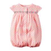 Carter's® Cap-Sleeve Embroidered Romper - Baby Girls newborn-24m