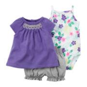 Carter's® 3-pc. Flutter-Sleeve Dress and Bodysuit Set - Baby Girls newborn-24m