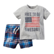 Carter's® 2-pc. Short-Sleeve Plaid Tee and Shorts Set - Baby Boys newborn-24m