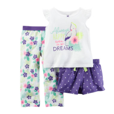 jcpenney.com | Carter's® 3-pc. Tropical Pajama Set - Toddler Girls 2t-5t