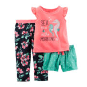 Carter's® 3-pc. Tropical-Print Pajama Set - Preschool Girls 4-7