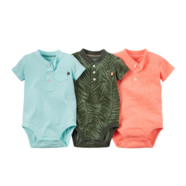 jcpenney.com | Carter's® 3-pk. Short-Sleeve Multi-Colored Bodysuits - Baby Boys newborn-24m