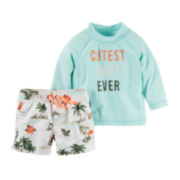 Carter's® 2-pc. Long-Sleeve Rashguard and Swimsuit Set - Baby Boys newborn-24m