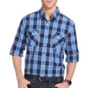 IZOD® Surfcaster Long-Sleeve Woven Poplin Button-Front Shirt