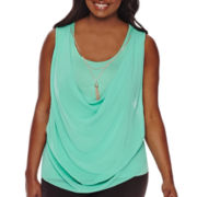 by&by Sleeveless Draped Necklace Top - Juniors Plus