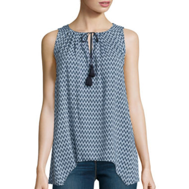 jcpenney.com | Stylus™ Pleated Tassel Tank Top