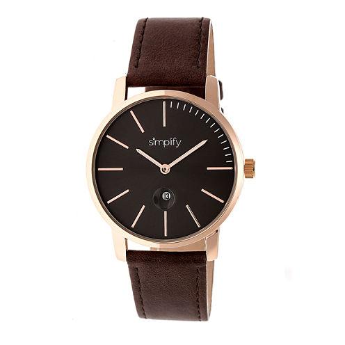 Simplify The 4700 Unisex Brown Strap Watch-Sim4705