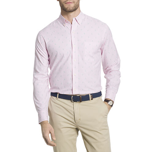 IZOD Saltwater Oxford Printed Long Sleeve Button-Front Shirt