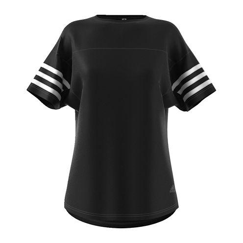 adidas Short Sleeve Crew Neck Stripe T-Shirt-Womens