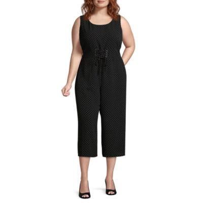 Msk Sleeveless Jumpsuit Juniors Plus Color Black White