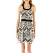 Ruby Rox® Sleeveless Chevron Print Chiffon Dress
