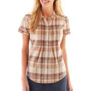 St. John's Bay® Short-Sleeve Pintuck Woven Shirt