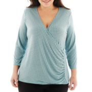 Liz Claiborne 3/4-Sleeve Surplice Knit Top - Plus