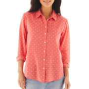 Liz Claiborne Long-Sleeve Dot Shirt