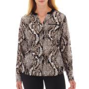 Worthington® Long-Sleeve Faux-Silk Shirt - Plus