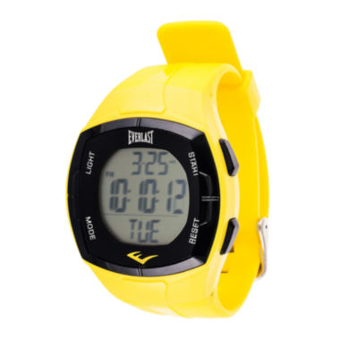 jcpenney.com | Everlast Mens Heart Rate Monitor Yellow Silicone Strap Sport Watch