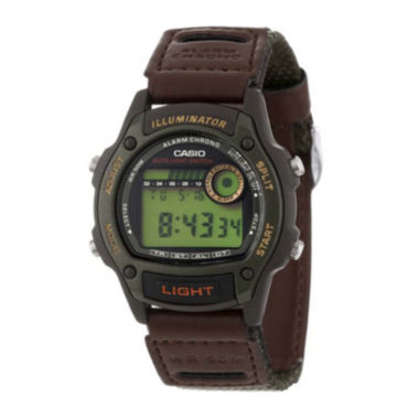 jcpenney.com | Casio® Illuminator Mens Brown Nylon/Leather Strap Sport Watch W94HF-3AVOS