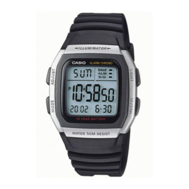 jcpenney.com | Casio® Mens Square Black Resin Strap Digital Sport Watch W96H-1AVOS