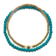Delicates by PALOMA & ELLIE Blue and Gold-Tone Bead 2-pc. Stretch Bracelet