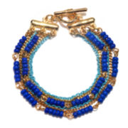 Delicates by PALOMA & ELLIE Blue and Gold-Tone 6-Row Bracelet