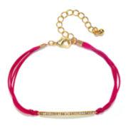 Delicates by PALOMA & ELLIE Crystal & Gold-Tone Bar Pink Cord Bracelet