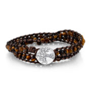 Footnotes Too® Genuine Tiger's Eye Family Tree Braided Bracelet
