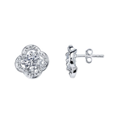 jcpenney.com | Crystal Sophistication™ Crystal Flower Silver-Plated Stud Earrings