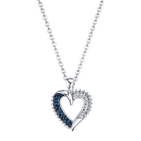 Crystal Sophistication™ Blue and Clear Crystal Heart Pendant Necklace