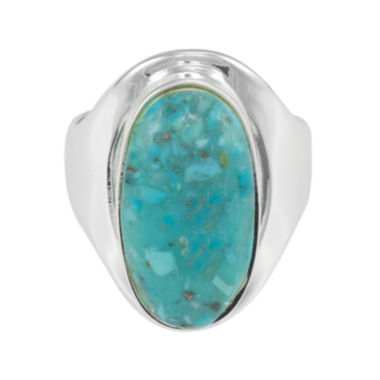 jcpenney.com | Simulated Turquoise Pure Silver-Plated Oval Ring