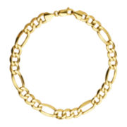 Mens 10K Yellow Gold Figaro Bracelet