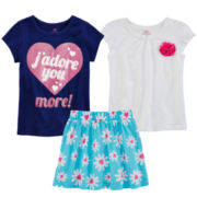 Okie Dokie® Graphic Tee, Flower Tee or Skort – Toddler Girls 2t-5t