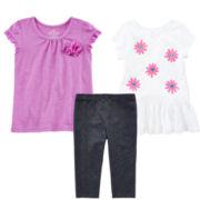 Okie Dokie® Flower Tee, Tunic or Capri Leggings – Toddler Girls 2t-5t