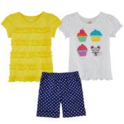 Okie Dokie® Classic Tee, Ruffle Tee or Cuffed Shorts – Toddler Girls 2t-5t