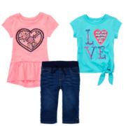 Arizona Peplum Top, Tie-Front Tee or Capri Jeggings – Toddler Girls 2t-5t