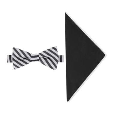 jcpenney.com | Glow in the Dark Striped Bow Tie and Pocket Square Set