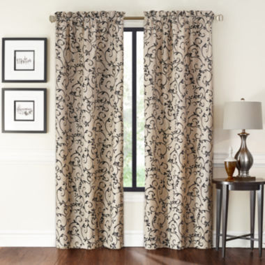 jcpenney.com | Saratoga 2-Pack Flocked Rod-Pocket Curtain Panels