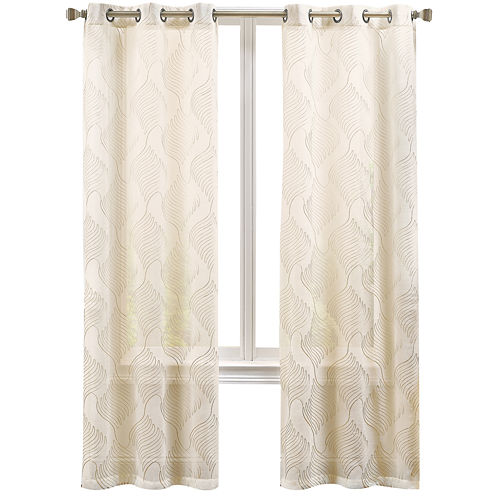 Serene 2-Pack Embroidered Grommet-Top Curtain Panels