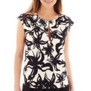 MNG by Mango® Short-Sleeve Keyhole Floral Print Top