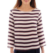MNG by Mango® 3/4-Sleeve Striped Tie-Neck Top
