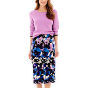 Worthington® Colorblock Crewneck Sweater or Long Print Pencil Skirt