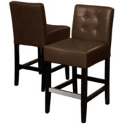 Everette Set of 2 Tufted Bonded Leather Barstools