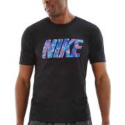 Nike® Floral Block Logo Tee