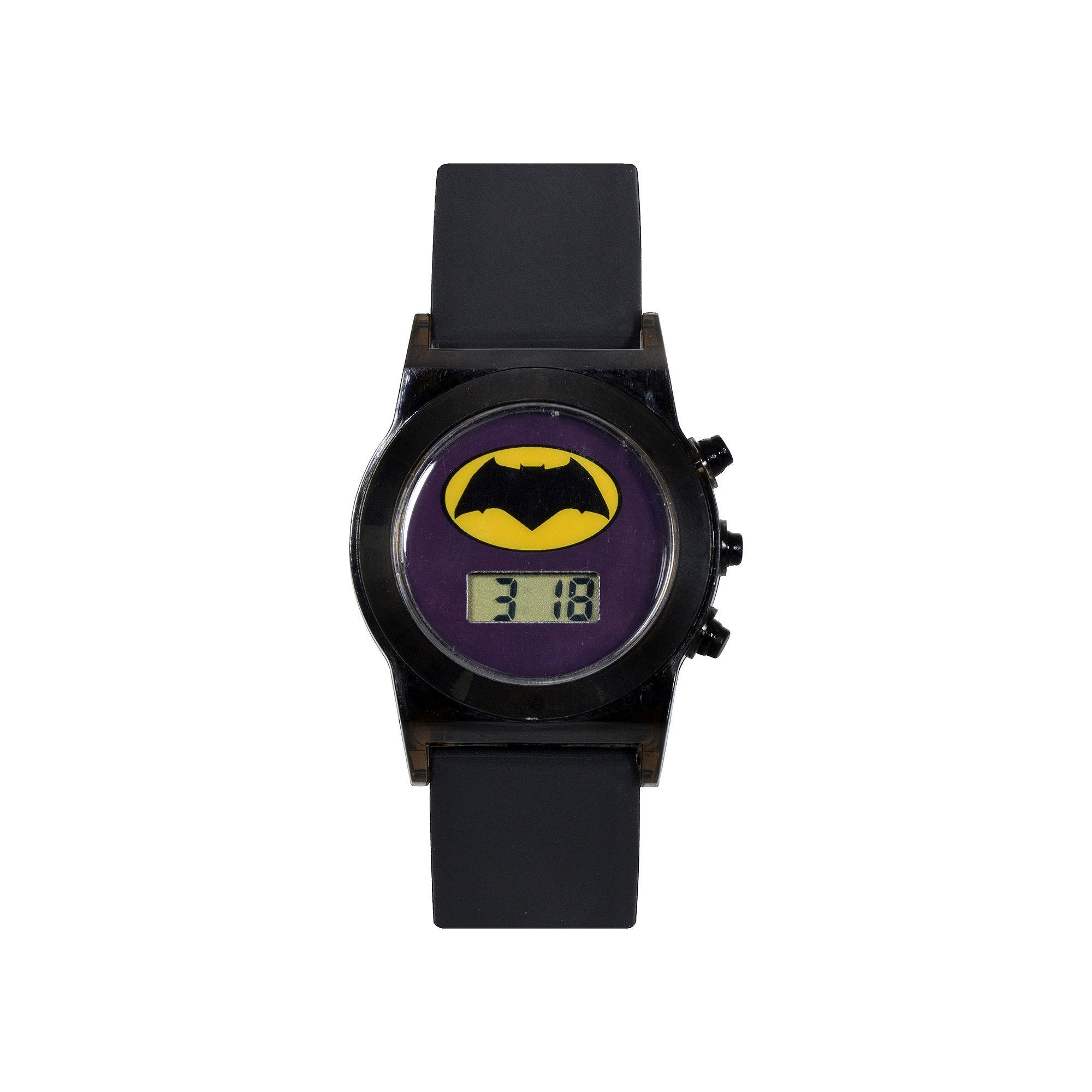 DC Comics Batman vs. Superman LCD Flashing Dial Black Silicone Strap Watch
