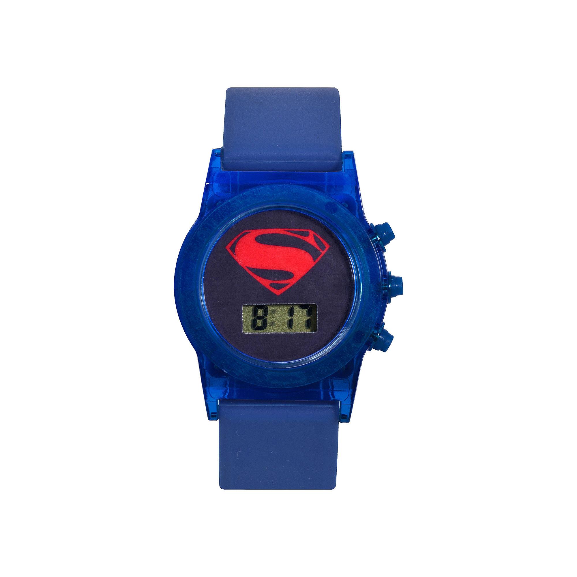 DC Comics Batman vs. Superman LCD Flashing Dial Blue Silicone Strap Watch