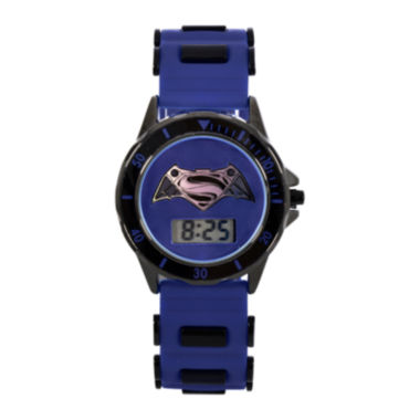 jcpenney.com | DC Comics® Batman vs. Superman LCD Dial Black and Blue Silicone Strap Watch